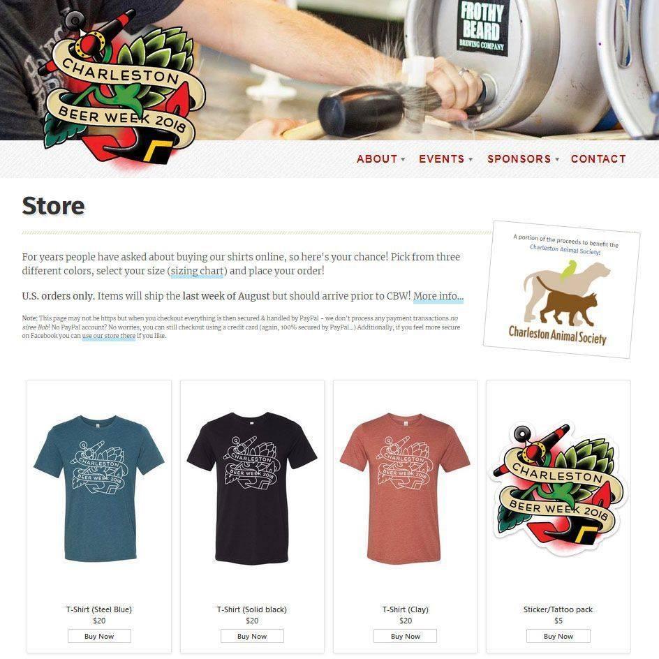 2018 Charleston Beer Week Merchandise Web Page