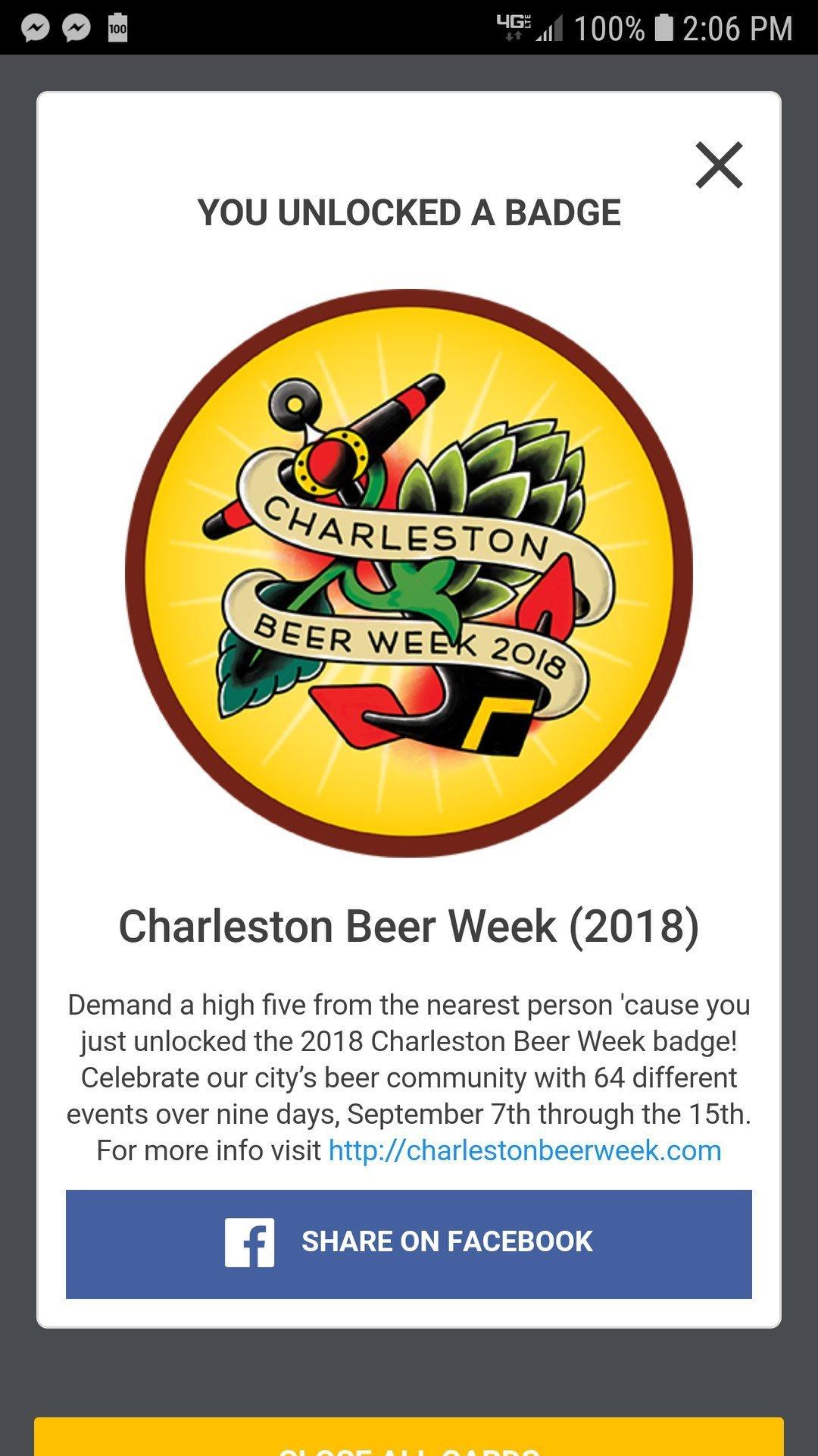 Untapped Badge for Charleston Beer Week 2018