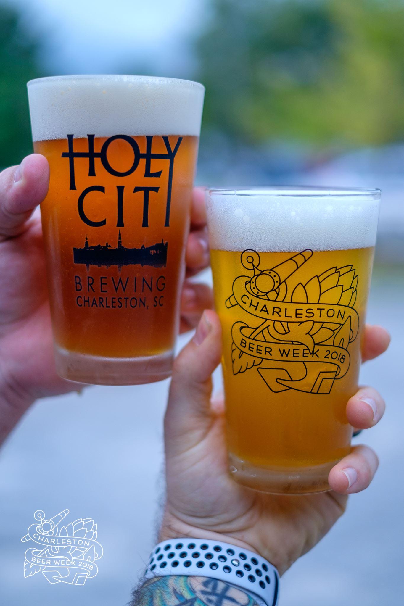 Holy City Brewing and Charleston Beer Week Pint Glasses