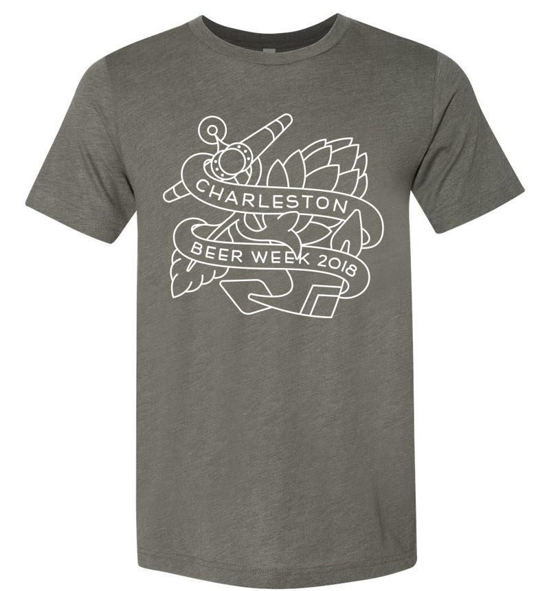 2018 Charleston Beer Week Logo on Dark Heather Grey Shirt