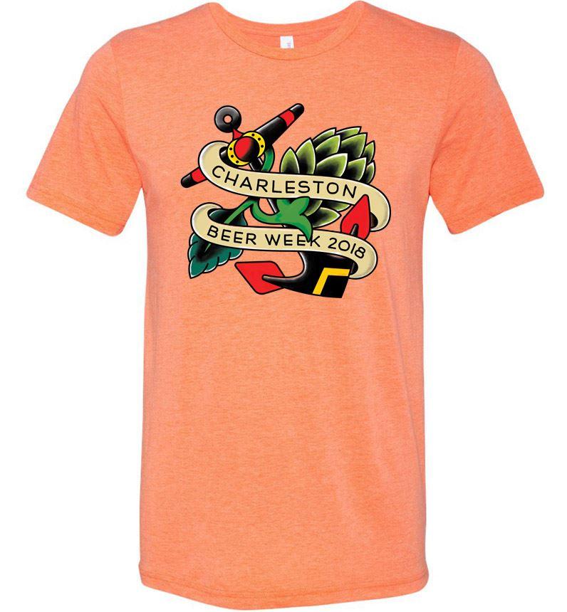 2018 Charleston Beer Week Logo on Peach Shirt