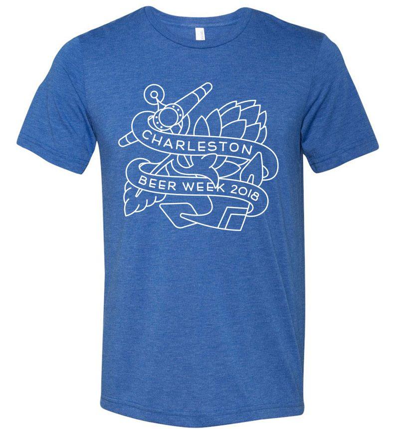2018 Charleston Beer Week Outline Logo on Blue Shirt