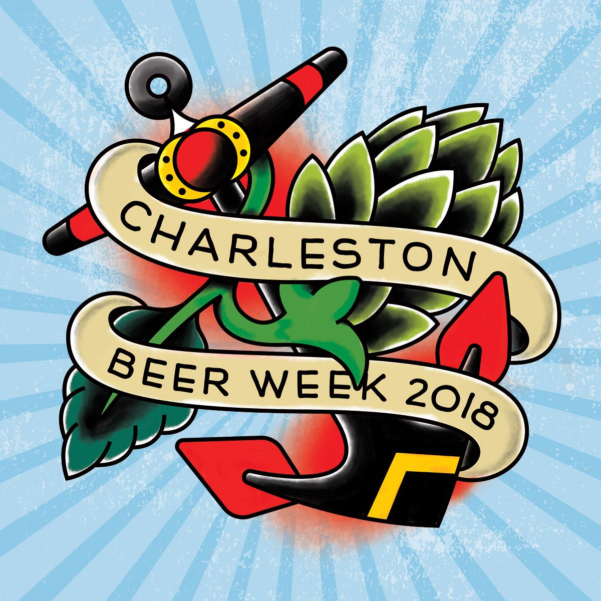 Charleston Beer Week Logo with Blue Burst Background