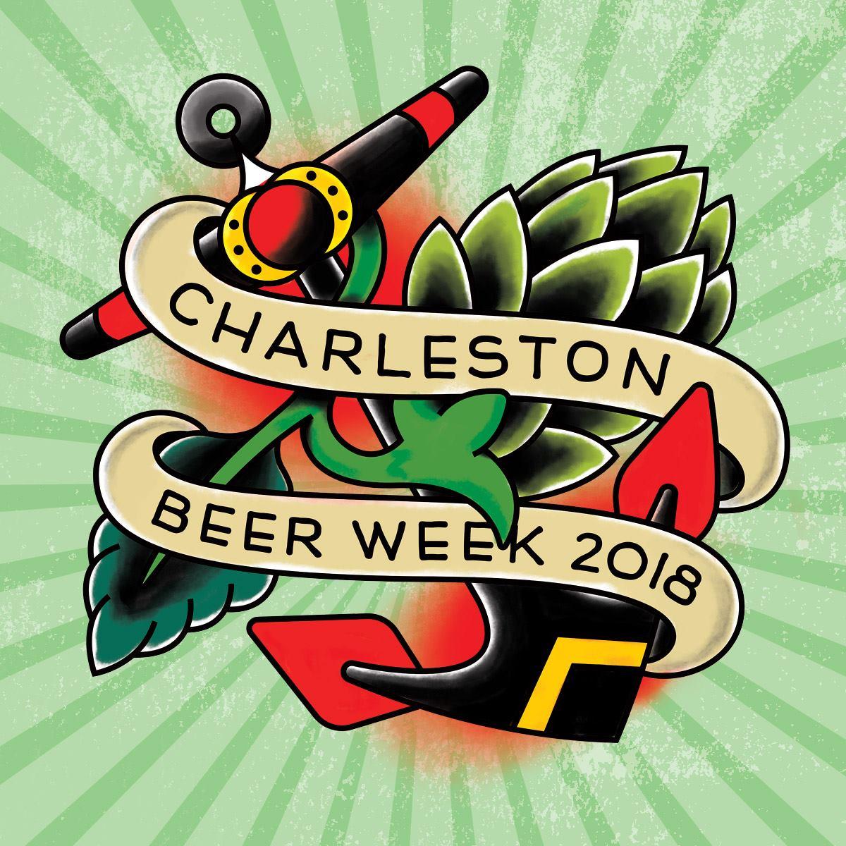 Charleston Beer Week Logo with Green Burst Background