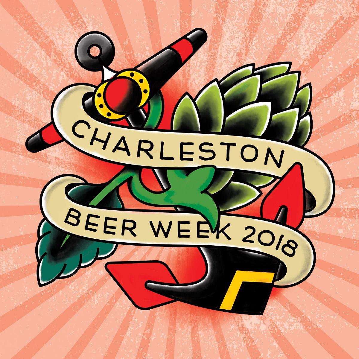 Charleston Beer Week Logo with Red Burst Background